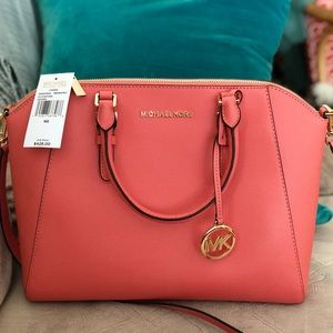 Large Michael Kors Satchel in Coral